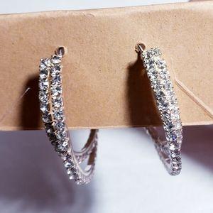 "Double strand fashion 2"" rhinestone hoops"